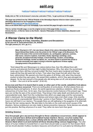 A Warner Came to the World -- Quranic Philosophy of Crises, Calamities, Disasters and Devastations [Printer-friendly Page]