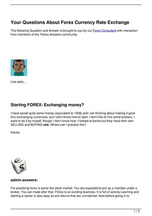 Your Questions About Forex Currency Rate Exchange
