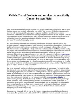 Vehicle Travel Products and services: A practically  Cannot be seen Field
