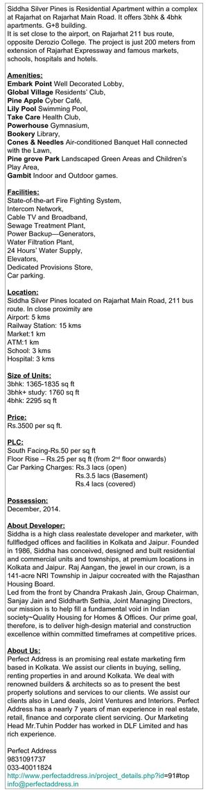 Residential Apartment in Rajarhat, Siddha Silver Pines