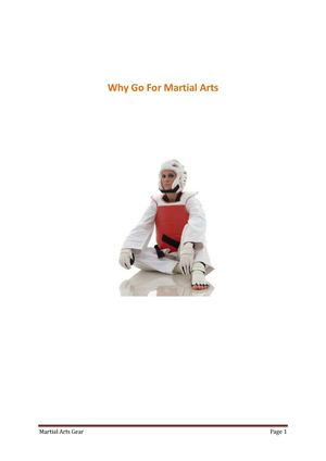 Reasons For Going For Martial Arts