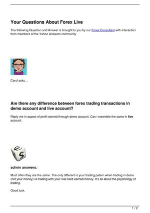 Your Questions About Forex Live