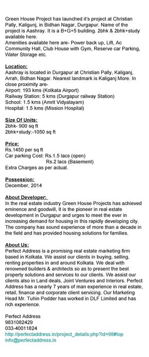 2bhk Apartments in Durgapur at Bidhan Nagar. Aashray