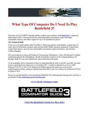 What Type Of Computer Do I Need To Play Battlefield 3