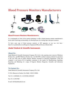 Blood Pressure Monitors Manufacturers: Sphygmomanometers Manufacturers