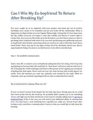 Calaméo - Three Steps For Get Back Your Ex Boyfriend