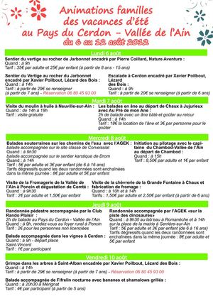 Animations du 6 au 12 août 2012