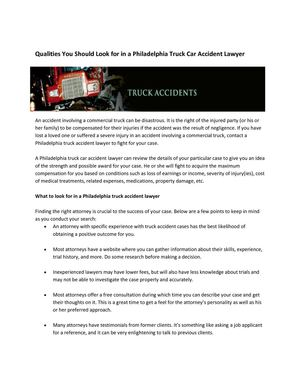 Qualities You Should Look for in a Philadelphia Truck Car Accident Lawyer
