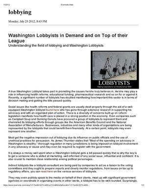 Washington Lobbyists in Demand and on Top of their League