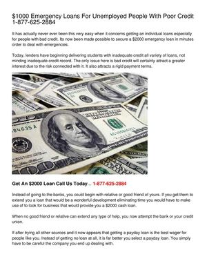 $1000 Emergency Loans For Unemployed People With Poor Credit 1-877-625-2884