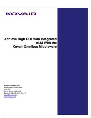 Achieve High ROI from Integrated ALM With the Kovair Omnibus Platform