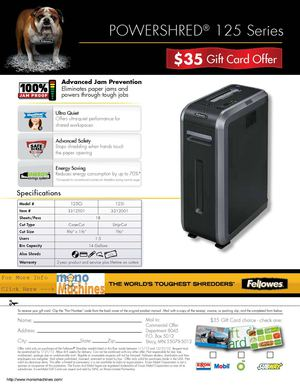 Fellowes $35 Giftcard for the 125 Shredder Series