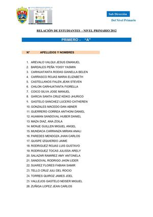 Calam 233 O Lista De Alumnos
