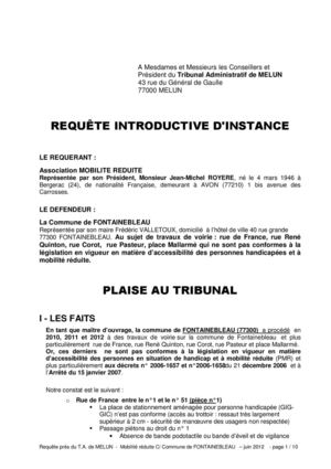 modele requete tribunal instance