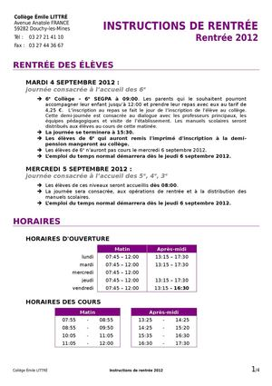 Instructions de rentrée 2012