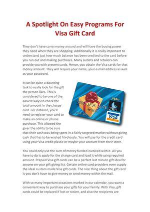 Calaméo - A Spotlight On Easy Programs For Visa Gift Card