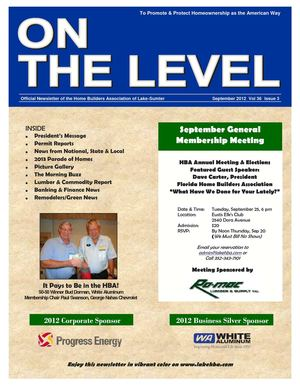 Sep 2012 On The Level Newsletter
