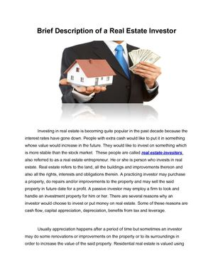 Brief Description of a Real Estate Investor