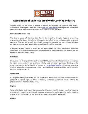 Association of Stainless Steel with Catering Industry