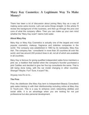 Calaméo - Mary Kay Cosmetics: A Legitimate Way To Make Money?