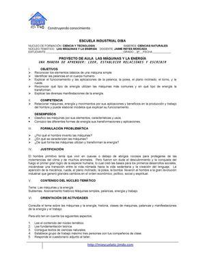 Calaméo - PROYECTO DE AULA MAQUINAS Y ENERGIA GRADO 6°