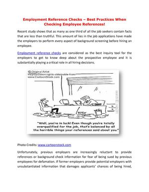 calaméo employment reference checks best practices when checking