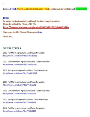 Links to FREE Marin Agricultural Land Trust Manuals, Newsletters and Fact Sheets