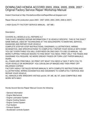 Calameo Download Honda Accord 2003 2004 2005 2006 2007 Original Factory Service Repair Workshop Manual
