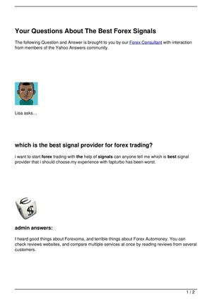 Your Questions About The Best Forex Signals