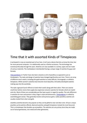 Time that it with assorted Kinds of Timepiec