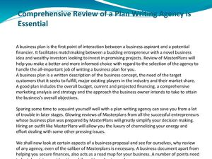 Comprehensive Review of a Plan Writing Agency is Essential