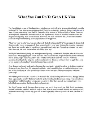 What You Can Do To Get A UK Visa
