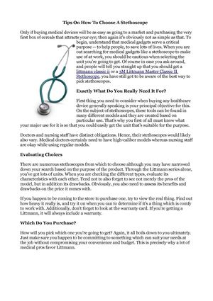Tips On How To Choose A Stethoscope