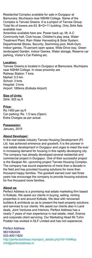 2bedroom Flats available in Durgapur at Muchipara, Tanvee Greens
