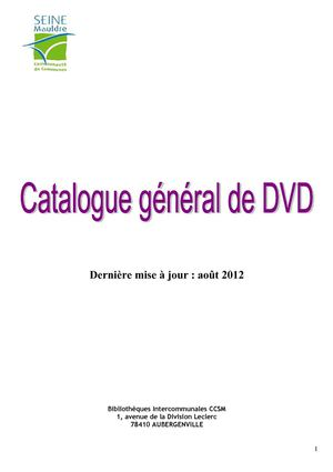 Catalogue DVD 2012