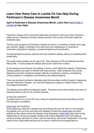 Learn How Home Care in Lomita CA Can Help During Parkinson's Disease Awareness Month