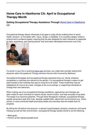 Home Care in Hawthorne CA: April is Occupational Therapy Month
