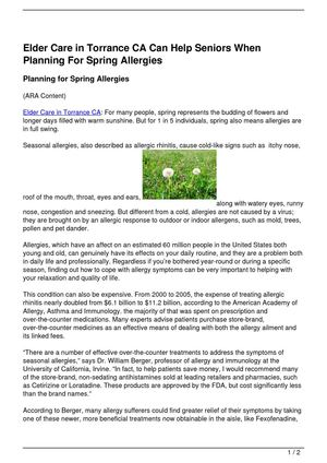 Elder Care in Torrance CA Can Help Seniors When Planning For Spring Allergies