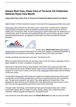 Always Best Care, Home Care of Torrance CA Celebrates National Home Care Month