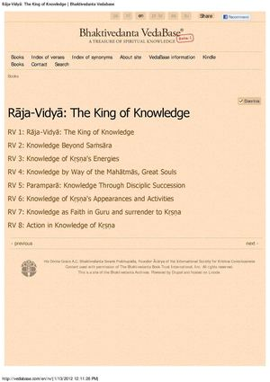 Rāja-Vidyā  The King of Knowledge