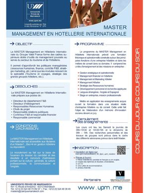 Master Management en Hôtellerie Internationale