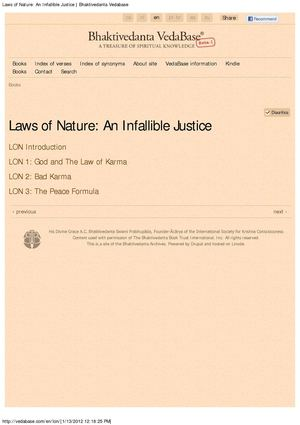 Laws of Nature -- An Infallible Justice