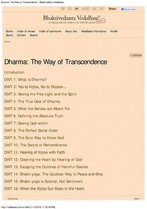 Dharma -- The Way of Transcendence