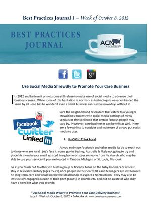 Best Practices Journal No. 1 - Social Media and the Care Business 10-08-2012