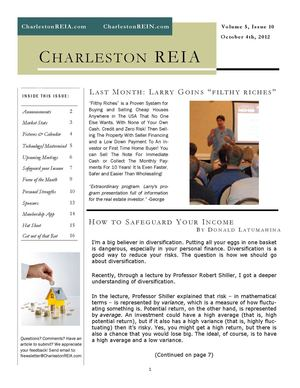 Charleston REIA October 2012 Newsletter
