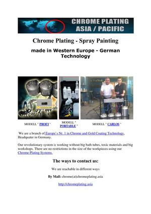Spray On Chrome - Chrome Plating Asia