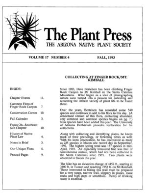 Fall 1993 The Plant Press ~ Arizona Natiave Plant Soceity