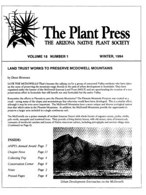 Winter 1994 The Plant Press ~ Arizona Natiave Plant Soceity