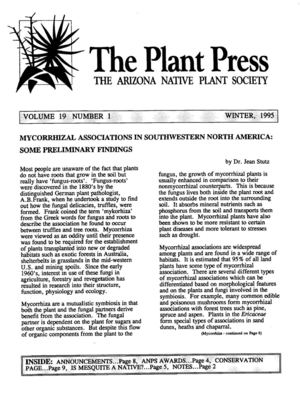 Winter 1995 The Plant Press ~ Arizona Natiave Plant Soceity