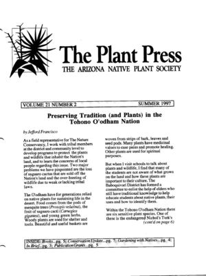 Summer 1997 The Plant Press ~ Arizona Natiave Plant Soceity